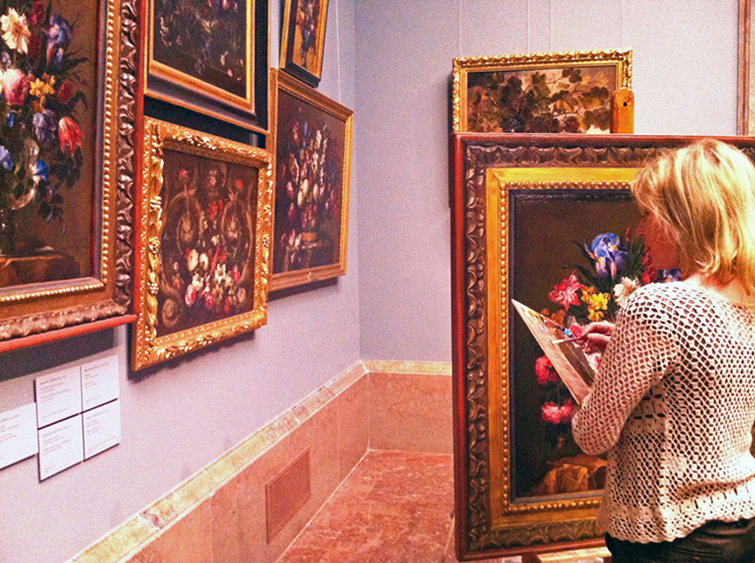 Ana Gulias copying one of the masterpieces of the museum, framework included.