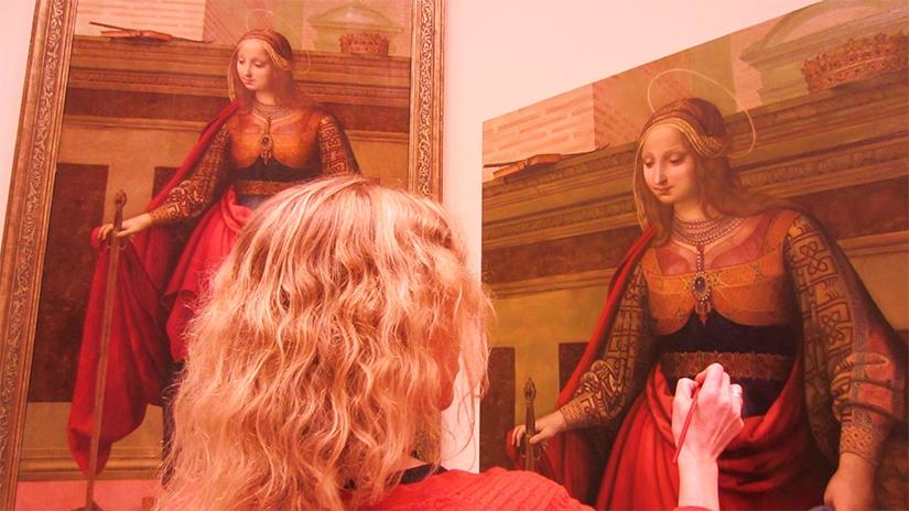 Pintando Santa catalina de Yáñez de La Almedina