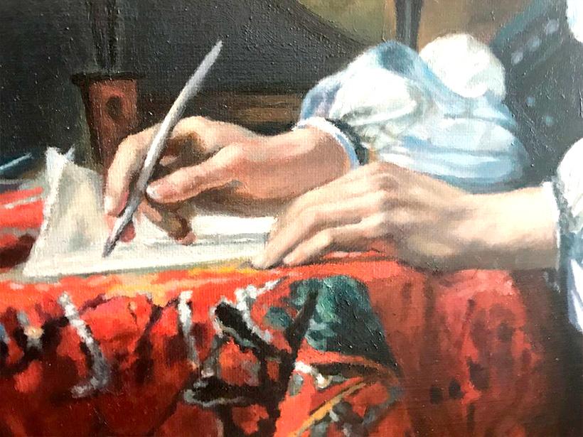 Hombre escribiendo una carta