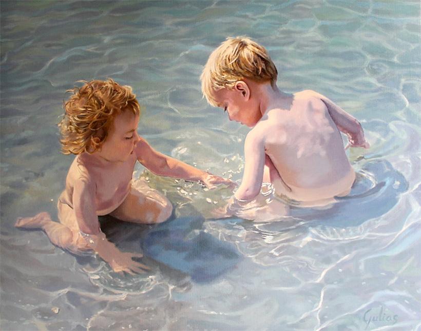 Niños en el agua retrato